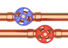 Blue and red valves on copper pipes front view Stock Photo