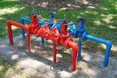 Blue and red valves and handle Royalty Free Stock Photography