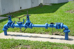 Blue and red valves and handle Stock Image