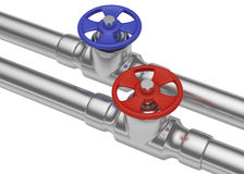 Blue and red valves on steel pipes, diagonal view Stock Image