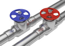 Blue and red valves on steel pipes diagonal view Stock Photography