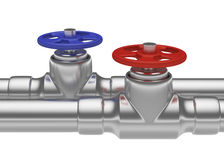 Blue and red valves on steel pipes Stock Images