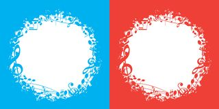 Blue and red vector music backgrounds with white center and musical notes stock illustration