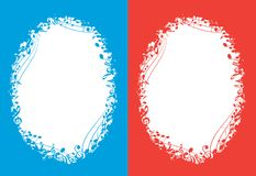 Blue and red vector music backgrounds with white oval center and musical notes royalty free illustration