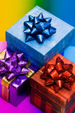 Blue, red and violet gift boxes Royalty Free Stock Photo
