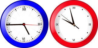 Blue and red wall clock Royalty Free Stock Photo