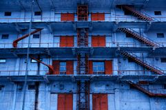 Blue and Red Warehouse. A Side View of a Blue and Red Warehouse royalty free stock photography