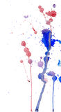Blue and red watercolor splashes and blots on white background. Ink painting. Hand drawn illustration. Abstract watercolor artwork Royalty Free Stock Photography