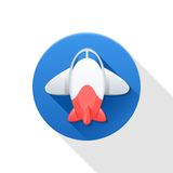 Blue, red and white airplane icon. On white background Stock Images