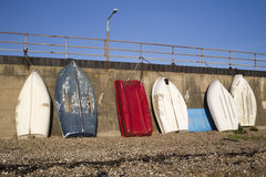 Blue, red and white boats at Southend-on-Sea, Essex, England Royalty Free Stock Images