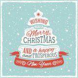 Blue, Red and White Christmas Card with Text Shaped  Royalty Free Stock Images