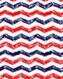 Blue red and white grunge chevron geometric seamless pattern, vector Royalty Free Stock Image