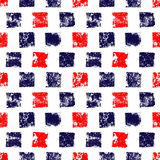 Blue red and white grunge squares print geometric seamless pattern, vector. Background Stock Image