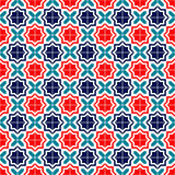 Blue red and white moroccan tiles seamless pattern, vector. Background Royalty Free Stock Image