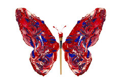 Blue red white paint made butterfly Royalty Free Stock Photography