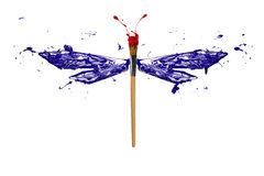 Blue red white paint made dragonfly Royalty Free Stock Image