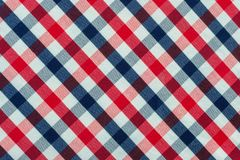 Blue, Red and White Plaid Fabric royalty free stock photography