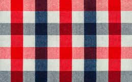 Blue, Red and White Plaid Fabric stock photos