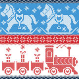 Blue , red , and white  Scandinavian seamless Nordic pattern with gravy train, Xmas gifts, hearts, rocking  pony horse, stars, sno Royalty Free Stock Photography