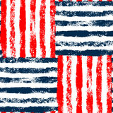 Blue red and white striped woven grunge seamless pattern, vector. Background Stock Photos
