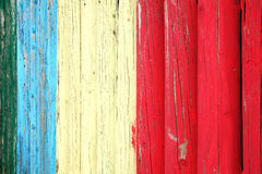 Blue red and white weathered plank posst background. Old blue red and white weathered distressed wood oak plank post background Royalty Free Stock Images