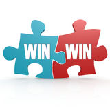 Blue and red with win win puzzle. 3D rendering Stock Photo