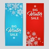 Blue and red winter backgrounds. Decorative winter vertical banners with white snowflakes on a blue and red backgrounds. Design for seasonal Christmas sale Royalty Free Stock Photography