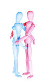 Blue and red wooden dummies Royalty Free Stock Photography