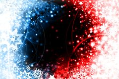 Blue red xmas design. Dark blue xmas card with stars and snowflakes Royalty Free Stock Photo