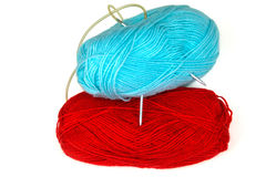 Blue and red yarn. Isolation. Stock Photos