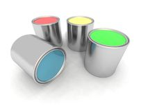 Blue, Red, Yellow And Green Paint Cans Stock Photography