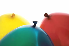 Blue, red and yellow balloons Stock Photography