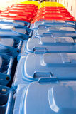 Blue red yellow bins Stock Images