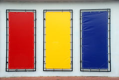 Blue red yellow Blank signs Royalty Free Stock Photography
