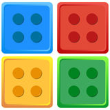 Blue, Red, Yellow, Green coloured Lego Toy illustration Vector Four colour set royalty free stock photography
