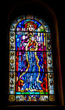 Blue Red Yellow and Green Tiffany Glass Window Stock Photo