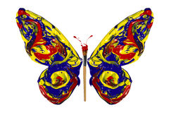 Blue red yellow paint made butterfly vector illustration