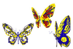 Blue red yellow paint made butterfly set Stock Photography