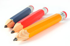 Blue Red and Yellow Pencils. On White stock photos