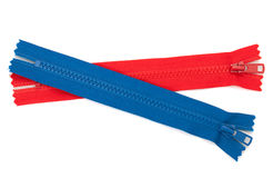 Blue and red zippers Royalty Free Stock Photos