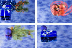 Blue reflections Christmas montage Royalty Free Stock Images