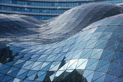 Blue reflections on the roof of modern building. Warsaw. Poland stock photo