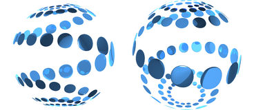 Blue reflective abstract isolated spheres Royalty Free Stock Images