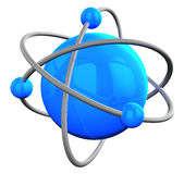 Blue reflective atom structure on white. 3D rendered blue atom structure on white Royalty Free Stock Image