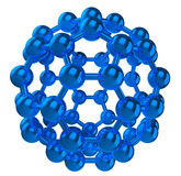 Blue reflective fulleren molecular structure. 3D rendered blue reflective fulleren molecular structure isolated on white Royalty Free Stock Images