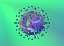 Blue reflective virus structure on green backgroun Stock Photos