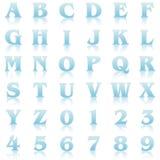Blue reflex alphabet Royalty Free Stock Images