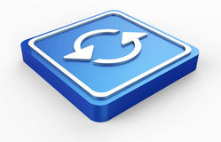 Blue refresh symbol metal 3D Stock Photos