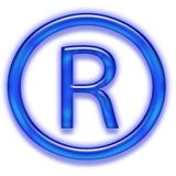 Blue registered trademark symbol Royalty Free Stock Photos