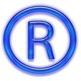 Blue registered trademark symbol. A blue registered trademark symbol Royalty Free Stock Photos